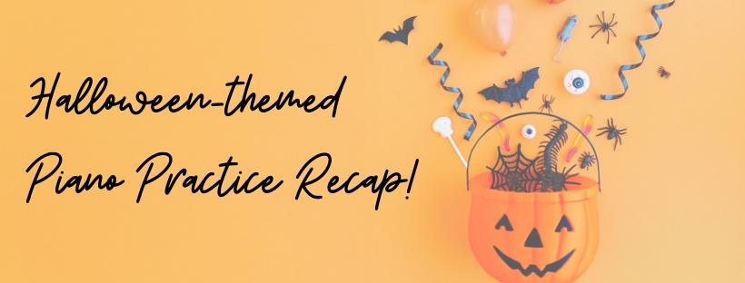 Halloween-themed Piano Practice Recap Banner