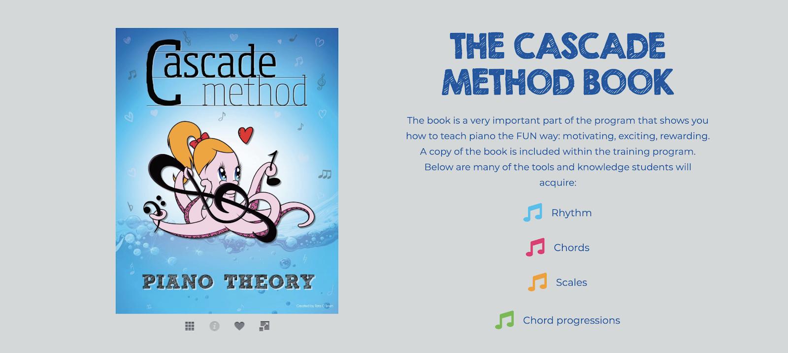 A screenshot of The Cascade Method online piano program details