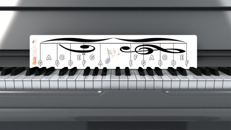 NoteMatch placed directly behind the black keys of a grand piano