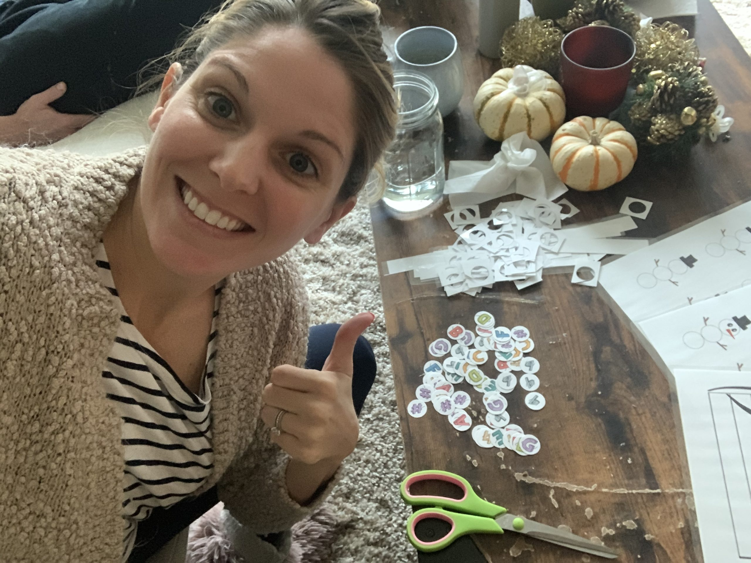 Tara making magnets to teach chords during piano lessons