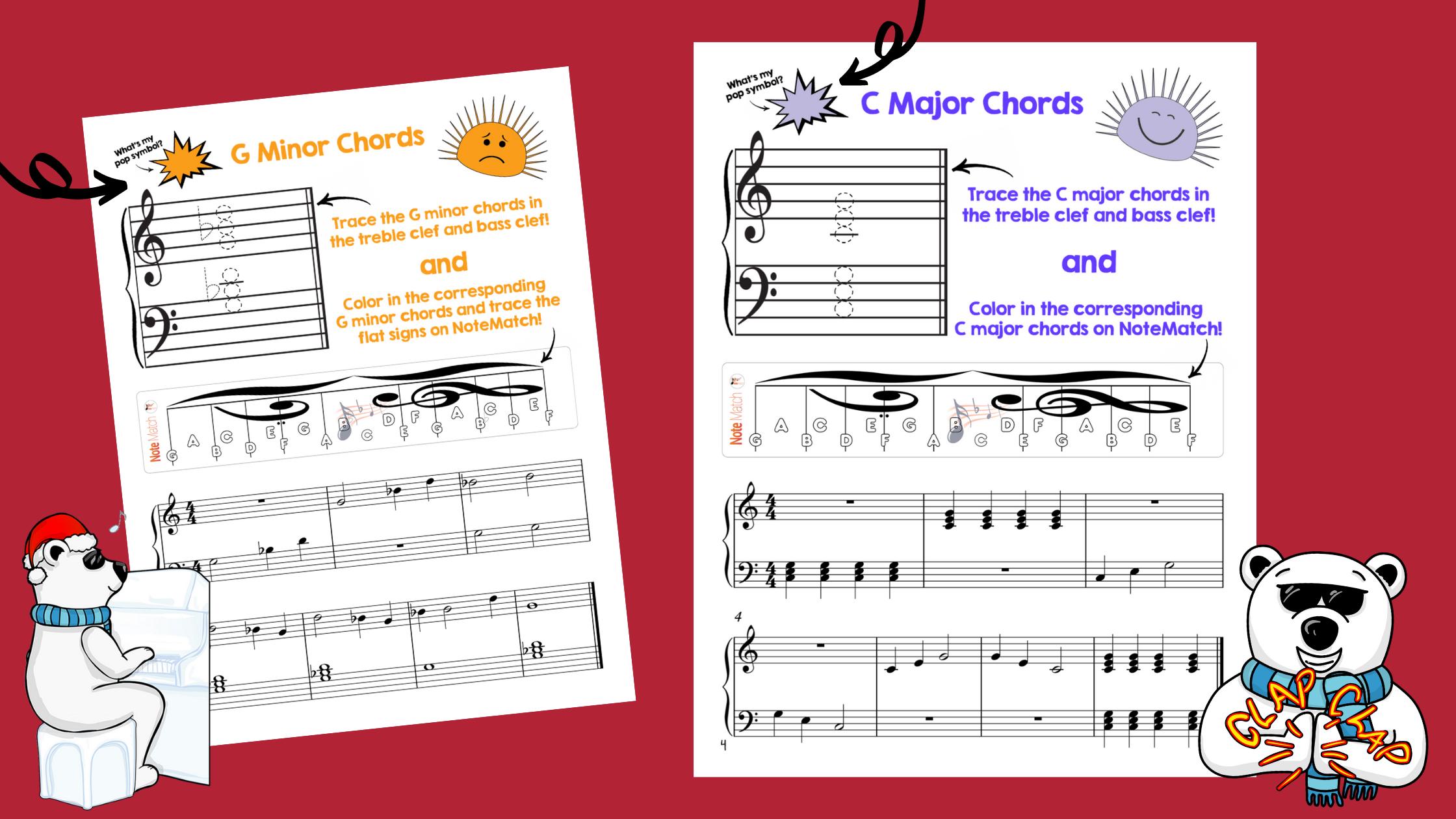G minor chords and c major chords worksheets